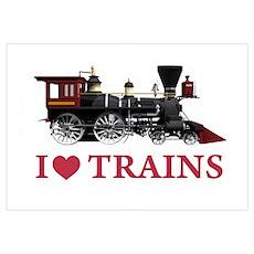 I LOVE TRAINS Wall Art Poster
