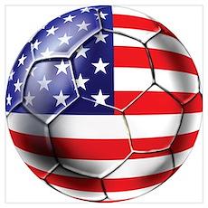 U.S. Soccer Ball Wall Art Poster