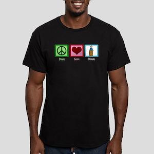 Peace Love Debate Men's Fitted T-Shirt (dark)