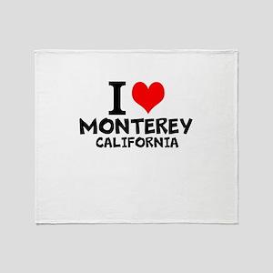 I Love Monterey, California Throw Blanket