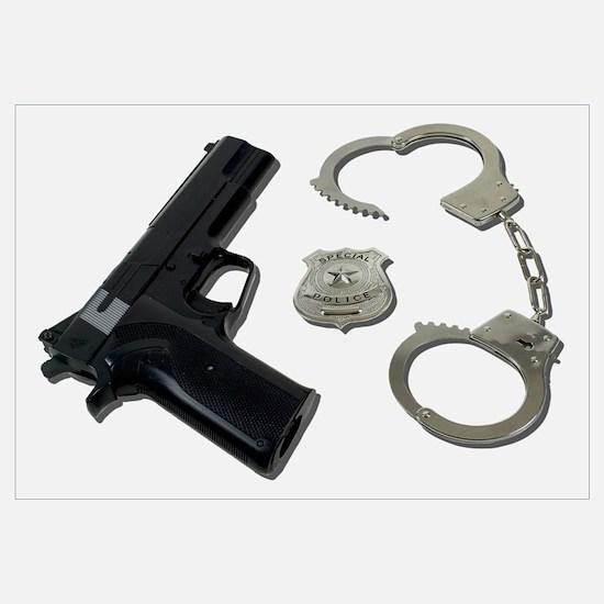 Police Badge Gun Handcuffs Wall Art