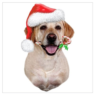 Yellow Lab Santa Wall Art Poster