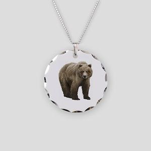 Bear Necklace Circle Charm