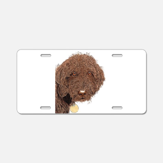 Chocolate Labradoodle 2 Aluminum License Plate