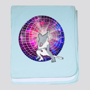 Ice Dancers in Colorful Circular Stro baby blanket