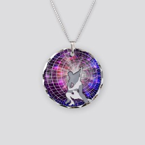 Ice Dancers in Colorful Circ Necklace Circle Charm