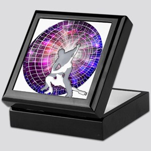Ice Dancers in Colorful Circular Stro Keepsake Box