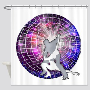 Ice Dancers in Colorful Circular St Shower Curtain