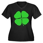 Four Leaf Clover Women's Plus Size V-Neck Dark T-S