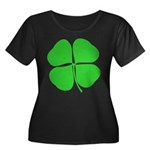Four Leaf Clover Women's Plus Size Scoop Neck Dark