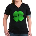 Four Leaf Clover Women's V-Neck Dark T-Shirt