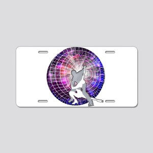 Ice Dancers in Colorful Cir Aluminum License Plate