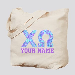 Chi Omega Blue Purple Letters Personalize Tote Bag