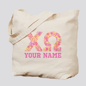 Chi Omega Pink Yellow Letters Personalize Tote Bag