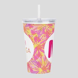 Chi Omega Pink Monogra Acrylic Double-wall Tumbler