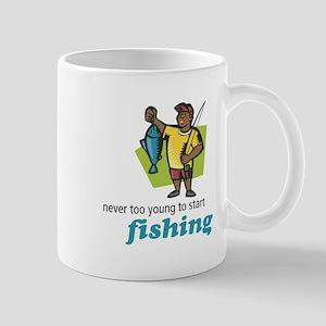 Never Too Young to Start Fishing Mug