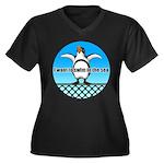 Penguin Women's Plus Size V-Neck Dark T-Shirt