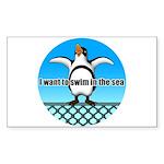 Penguin Sticker (Rectangle 10 pk)