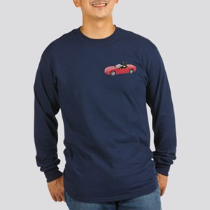 Cat in Red Car Long Sleeve Dark T-Shirt