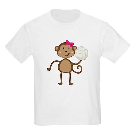 Volleyball Monkey Girl Kids Light T-Shirt