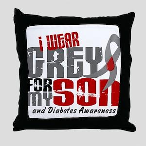 I Wear Grey 6 Diabetes Throw Pillow