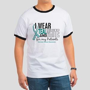 I Wear Teal White 10 Cervical Cancer Ringer T