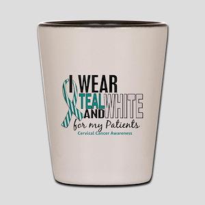 I Wear Teal White 10 Cervical Cancer Shot Glass