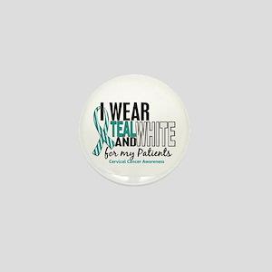 I Wear Teal White 10 Cervical Cancer Mini Button