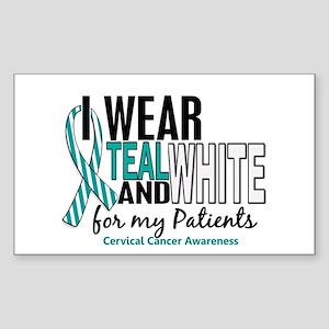 I Wear Teal White 10 Cervical Cancer Sticker (Rect