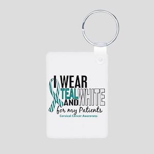 I Wear Teal White 10 Cervical Cancer Aluminum Phot