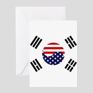 Korean greeting cards cafepress korean american flag greeting card m4hsunfo