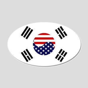 Korean-American Flag 22x14 Oval Wall Peel