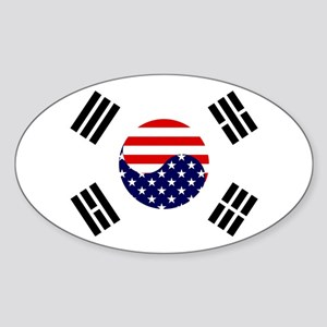 Korean-American Flag Sticker (Oval)