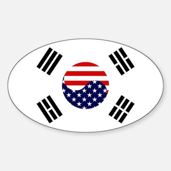 Korean-American Flag Sticker (Oval)