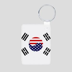 Korean-American Flag Aluminum Photo Keychain