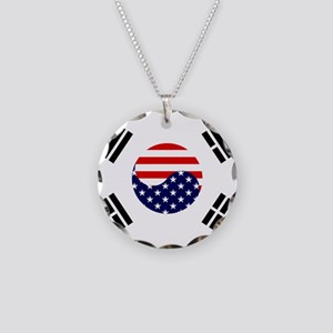 Korean-American Flag Necklace Circle Charm