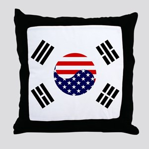 Korean-American Flag Throw Pillow