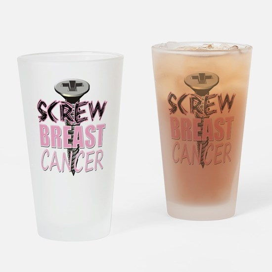 Screw Breast Cancer Drinking Glass