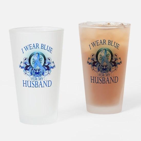 I Wear Blue for my Husband (f Drinking Glass