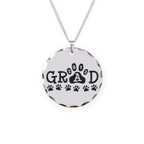 Grad 2012 Paws Necklace Circle Charm