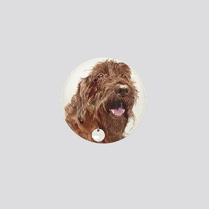 Chocolate Labradoodle3 Mini Button