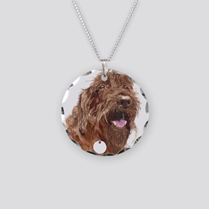 Chocolate Labradoodle3 Necklace Circle Charm