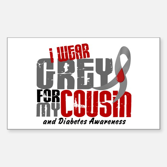 I Wear Grey 6 Diabetes Sticker (Rectangle)