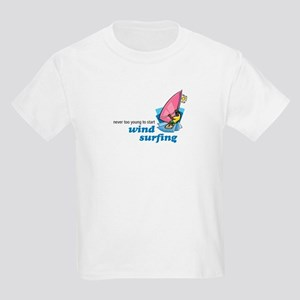 Never Too Young to Start Wind Surfing Kids T-Shirt