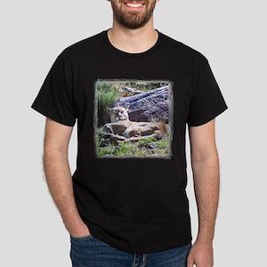Mountain Lion Lying Black T-Shirt