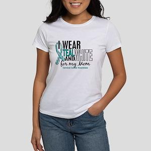 I Wear Teal White 10 Cervical Cancer Women's T-Shi