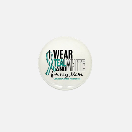 I Wear Teal White 10 Cervical Cancer Mini Button
