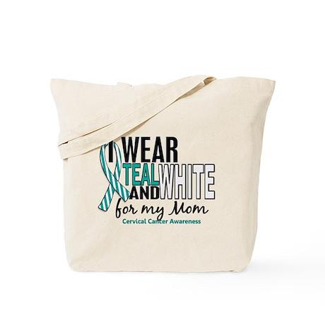 I Wear Teal White 10 Cervical Cancer Tote Bag