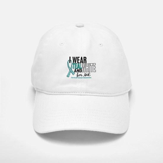 I Wear Teal White 10 Cervical Cancer Baseball Baseball Cap