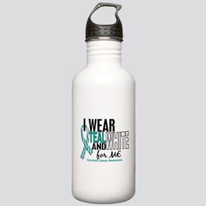 I Wear Teal White 10 Cervical Cancer Stainless Wat